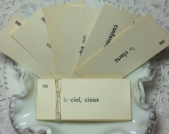 Vintage French Vocabulary Flashcard, Mini Flashcard, French Ephemera, Vocabulary Flashcards, Junk Journal Ephemera,