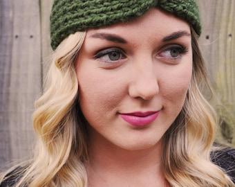 Front Twist Knit Headband in Green