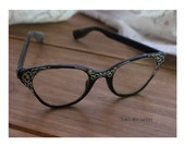 Vintage frames eye glasses BLACK ladies cat eye Tura inc silver etching flower design eyewear retro gogo chic twiggy mod  1960 1950 eyewear