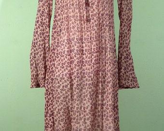 Indian cotton gauze dress vintage 70s