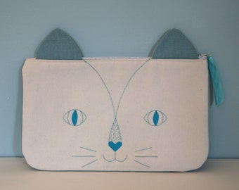 "Pouch collection ""Meow"" turquoise blue"