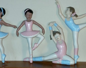 Vintage Ballerina Burwood Ballerinas Set of 4 Nursery or Child's Room Wall Decor