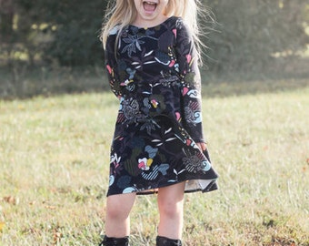Saige's Boatneck Knit Dress. PDF sewing pattern for toddler girl sizes 2t - 12.