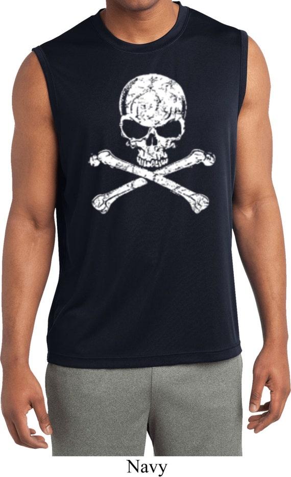 Men 39 S Skull Shirt White Distressed Skull Sleeveless