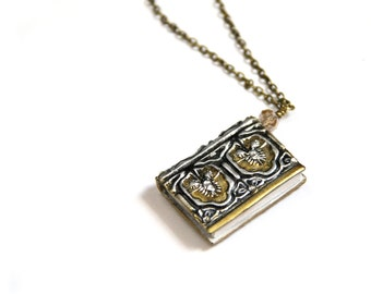 Mini book necklace Book worm gift Book lover gift idea Book charm pendant Book reader gift idea Book jewelry Necklace book gift Bookish gift