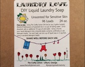 DIY Liquid Laundry Detergent Kit -  Unscented Laundry Soap for Sensitive Skin - Handcrafted with Organic Ingredients!!