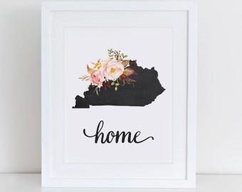 Kentucky Art Print, Kentucky Printable Art Print, Instant Download, Kentucky Wall Art, 8x10 Art Print, Kentucky Nursery Art Print
