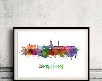 Bradford skyline in watercolor over white background with name of city - Poster Wall art Illustration Print - SKU 1872