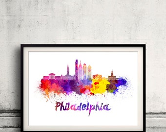 Philadelphia skyline in watercolor over white background with name of city - Poster Wall art Illustration Print - SKU 1896