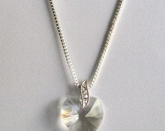 Crystal Heart Necklace ~ Swarovski Heart Necklace ~ Heart Jewellery ~ Swarovski Pendant ~ Swarovski Crystal