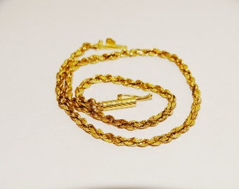 "Vge 14k Yellow Gold 9"" inch Long 3mm Wide Laser Cut Ankle Rope Bracelet."