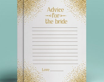 Gold glitter advice for the bride gold bridal advice instant download gold and white card design golden advice for bride-to be printable