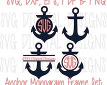 Anchor Svg Set Anchor Monogram Svg Clipart - Nautical Split Monogram Svg Cut files / Svg Dxf Eps Pdf Png Anchor files for Silhouette Cricut