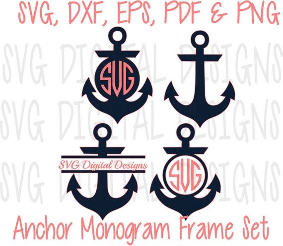 Anchor Svg Set Anchor Monogram Svg Clipart By