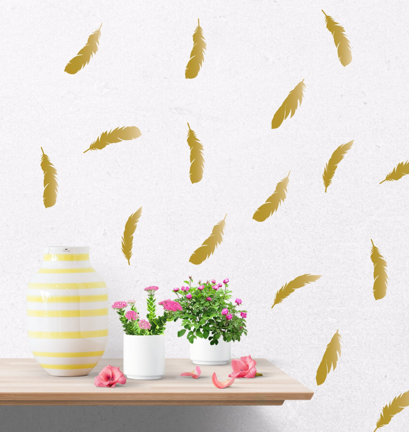 Gold feather decals gold wall decal gold wall stickers zoom amipublicfo Image collections