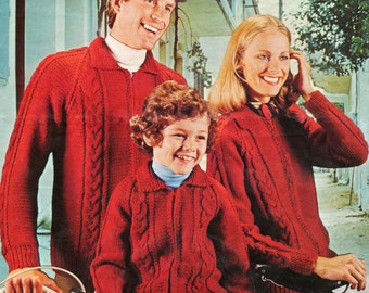 Knitting Pattern - Cable Knit Zipped Jacket - 26 to 44 inches