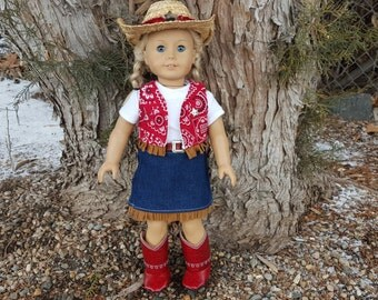 Cowgirl outfit for 18 inch Dolls, Doll Cowboy Outfit