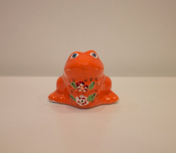 Orange Ceramic Frog, Orange Decoratives, Orange Home Decoration, Animal Figure, Orange Pottery, Trinkets, Little Ceramic Gift, Ornaments