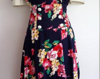 Navy floral dress, S, M, floral 80's dress, big collar dress, short sleeve dress, cotton dress, summer dress, spring dress, floral dress
