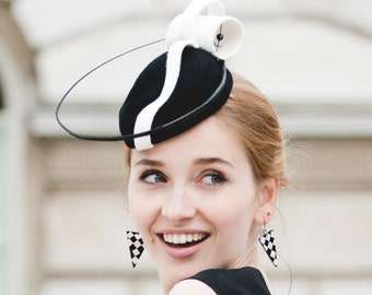 Black and white fascinator,fur felt pillbox hat,black quill,Swarovski crystals,wedding hat,cocktail hat,occasion hat,mother of the bride.