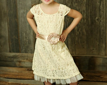 Cream flower girl dress, lace baby dress, rustic flower girl dress, country flower girl dress, lace girls dresses, flower girl dress.