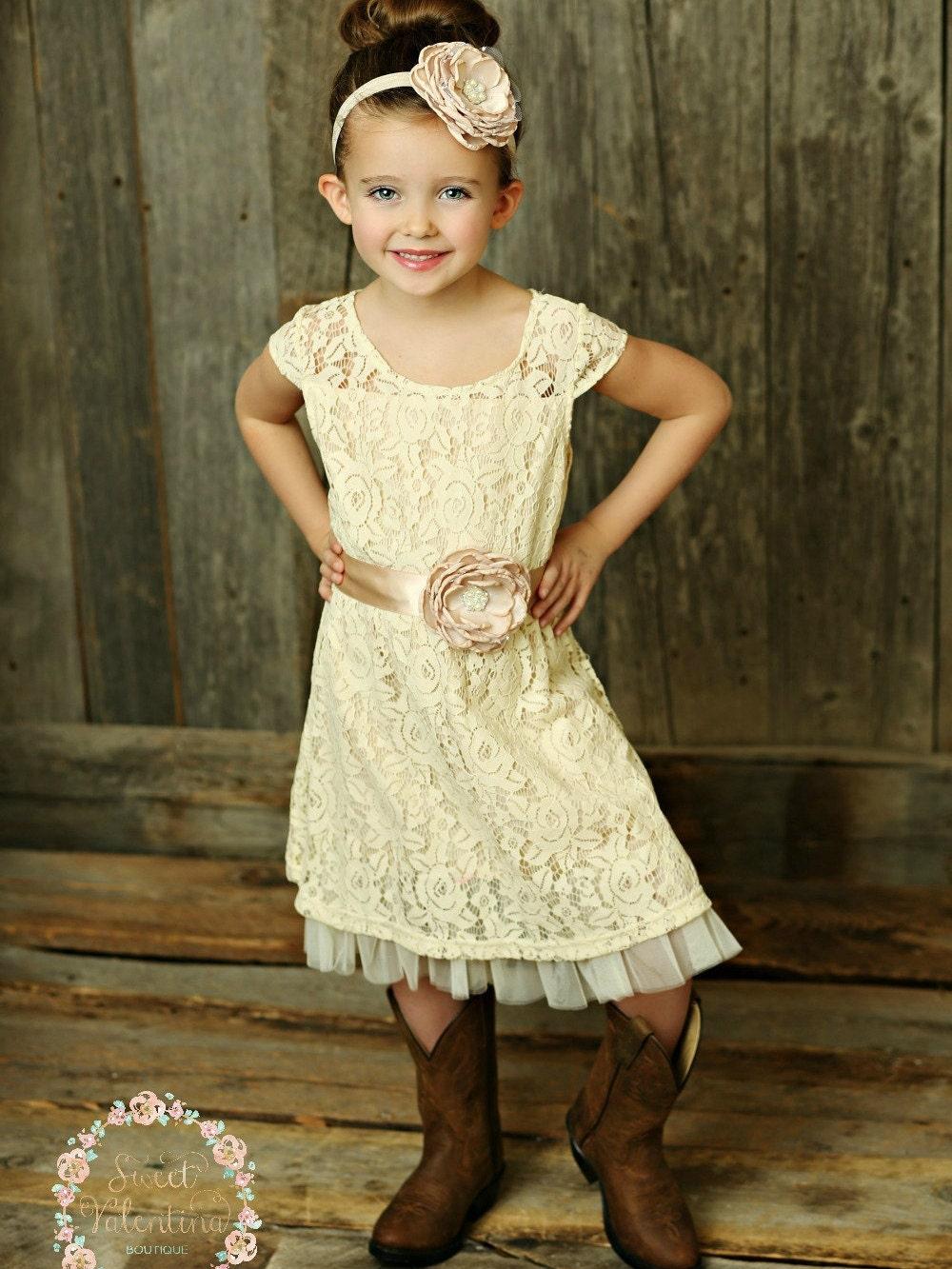 Cream flower girl dress lace baby dress rustic flower girl