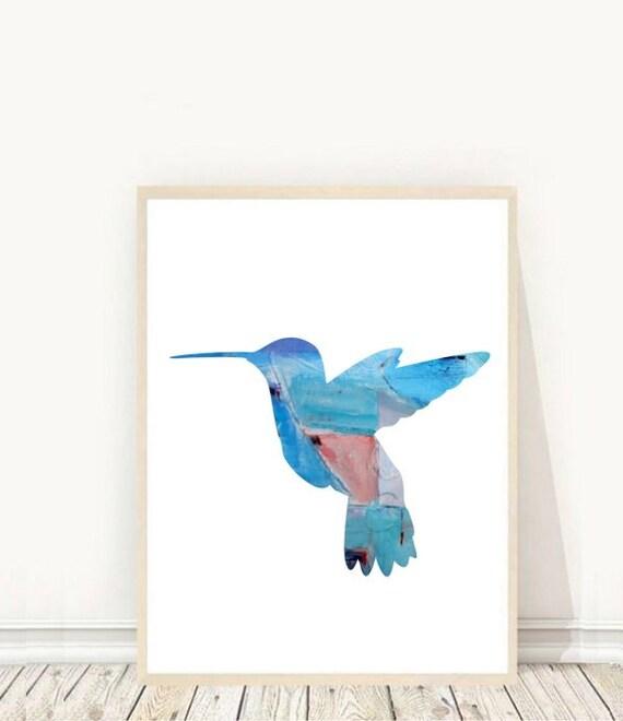 Hummingbird Wall Art Blue Hummingbird Print Printable Art