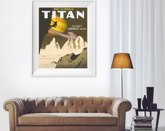 Titan Space Art Print Space Solar System Poster Planets Poster Mars Art Print