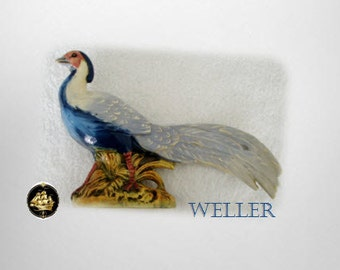Weller art pottery pheasant in vivid colors - marked