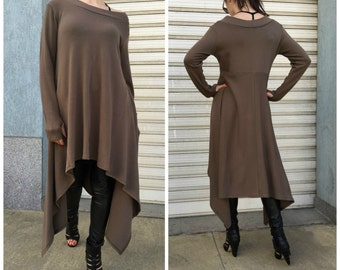 "Asymmetric Sweater Dress / Long Sleeve Sweater Top/ Knitwear cotton dress / EXPRESS SHIPPING - ""Drive, Driven"""