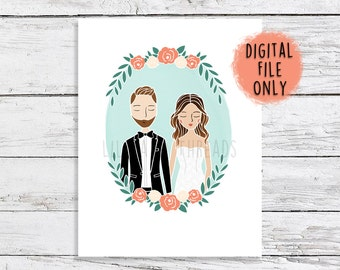 Custom Wedding Half Portrait Illustration DIGITAL FILE ONLY | Engagement, Announcement, Invitation, Save The Date, Gift Idea or Thank You's