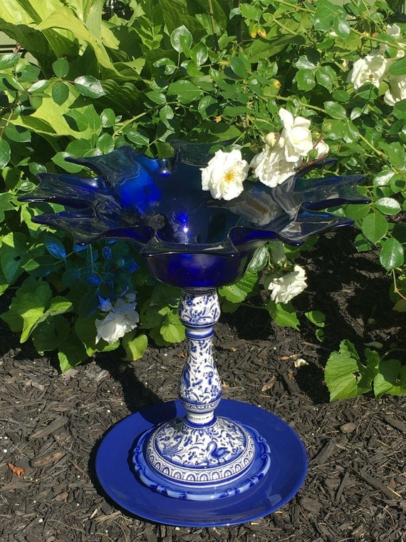 Custom order for n j p upcycled garden decor ceramic bird for Upcycled yard decor