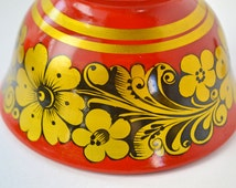 Vintage Khokhloma Soviet Russian Bowl, Beautifully Hand painted Red, Gold and Black Bowl,  Lacquer Wooden Bowl, Made in USSR in 1984