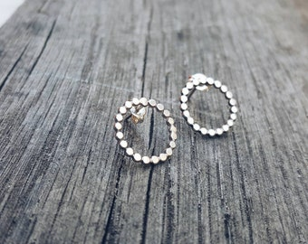 Beaded Circle Studs // Sterling Silver Stud Earrings. Modern earrings. Hoop earrings. Circle stud earrings.  Sterling circle earrings.