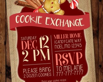 Christmas Cookie Exchange Invitation, Holiday Cookie Exchange Invitation, Cookie Swap Invitation #005