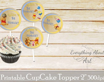 Winnie the Pooh Cupcake toppers printable,  Winnie the Pooh birthday, Printable cupcake toppers, Birthday party supplies, Cupcake toppers