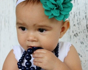 Teal Chiffon Flower for newborns, shabby chic headband hair bow babies and girls.