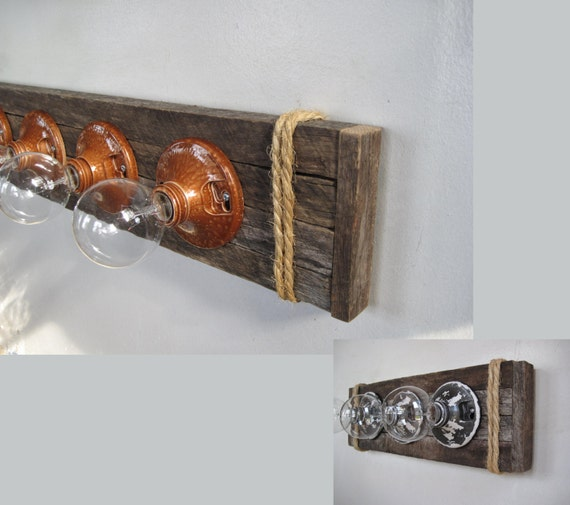 light fixture reclaimed wood 5 or 3 bulbs customizable for. Black Bedroom Furniture Sets. Home Design Ideas