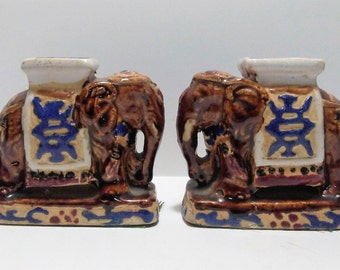 Elephants Vintage Pair Of Chinoiserie Mini Elephant Garden Stool Figurines  Bookends Ceramic Elephants