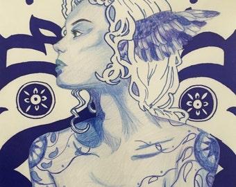 Art Nouveau Blue Monochrome Female Portrait in Colored Pencil and Marker