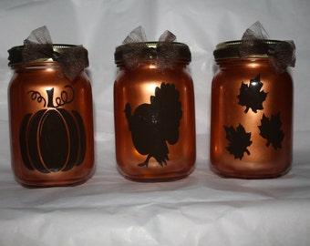 Fall/ Thanksgiving Lanterns, pumpkin, maple leaves,turkey, 16oz, pint size mason jars, tea light included
