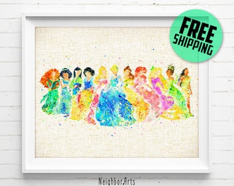 FREE SHIPPING- Disney, Princess art print, Ariel, Cinderella, Snow White, Belle, Rapunzel, poster, watercolor, nursery, kids, home decor 338