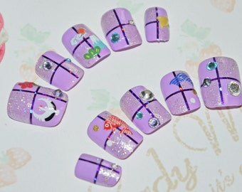 Kimono nail art, false nail, japanese fake nails, kawaii japanese sticker, purple and white, Swarovski, lolita accessory, wa lolita