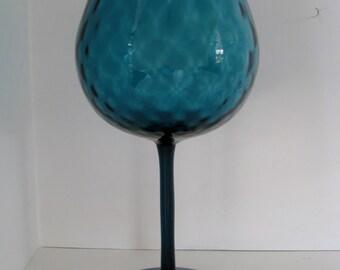 Teal Optic Glass Goblet Vase