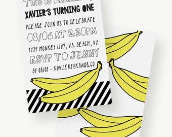 This Is Bananas! Birthday Invitation | Bananas, Modern, Black, White, Yellow, Typography, First Birthday, Kid Birthday, Child Birthday