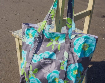 Large Beach Bag/Tote - Teal flowers