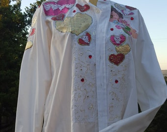 Vintage Tuxedo  Shirt, Hearts, Love Blouse Valentine's Tuxedo Shirt Blouse 80's Glitter and Hearts