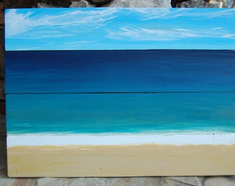 Cape Cod Beach Coast Abstract Pallet Painting