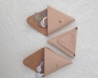 Handmade natural veg-tanned leather coin triangle, pouch