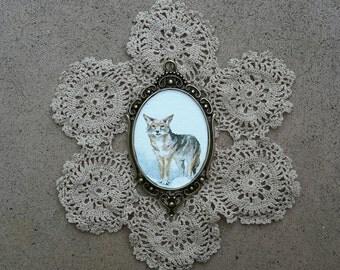 Coyote Trickster Totem // OOAK Pendant Necklace // Tiny Watercolor Amulet // Animal Medicine Magic